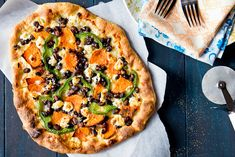 Sweet Potato  Black Bean Pizza with Goat Cheese by foodiebride