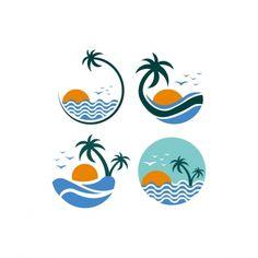 Mouse Illustration, Beach Illustration, Vector Design, Vector Art, Design Design, Sea Logo, Nature Vector, Graphic Design Inspiration, Logo Templates