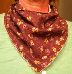 """Increase this bandana pattern 125% for small adult (14"""" neck) - next try I'm going to lengthen front and back one additional inch in length. https://samandlurel.wordpress.com/2014/04/28/free-bandana-bib-pattern/"""