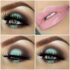 Green eye make-up 💚 Simple Eye Makeup, Cute Makeup, Gorgeous Makeup, Makeup Geek, Makeup Inspo, Makeup Addict, Makeup Inspiration, Hair Makeup, Makeup Ideas