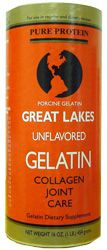 Great Lakes unflavored gelatin.  Flat rate shipping rate of $5.95 plus $11.19 for 16 oz. makes it cheaper than amazon (at least if you buy 2).