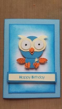 Kaszazz giggle and hoot card I made Birthday Cards, Birthday Parties, Happy Birthday, Mish Mash, Kids Cards, Stampin Up, Projects To Try, Card Making, Greeting Cards