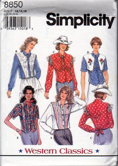Ladies  Western Shirt Sewing Pattern, Western Classics, Simplicity 8850, Misses Sizes 12, 14, 16 ,Rockabilly Shirt Pattern, Vintage 1994 by OnceUponAnHeirloom on Etsy