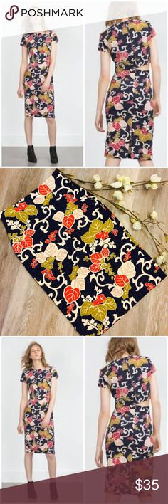 """ZARA FLORAL PENCIL SKIRT Beautiful Zara Pencil Skirt. Size Medium: 28"""" waist, 37"""" length, 7"""" slit Concealed back zipperExcellent conditionFabric: 88% Polyester, 12% ElastaneNO tradesSmoke Free HomeBundle Discount: 10% off two, 15% off threeThank you for stopping by Zara Skirts Pencil"""