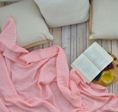 Mama throw blanket / adult sized muslin blanket / blush pink Coral