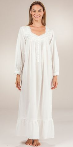 Cotton Nightgowns - Eileen West Long Sleeve Ballet in Creamy White Cotton  Nighties 26b151fe6