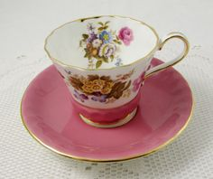 Pink Aynsley Tea Cup and Saucer with Flowers, Vintage Bone China