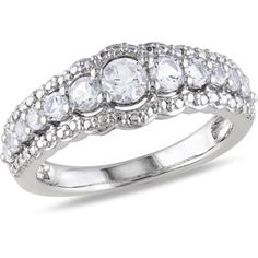 1-1/8 Carat White Sapphire Sterling Silver Semi Eternity Ring #jpjewels8 #(M-W552272103) other seffer listilg