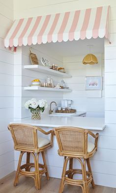 🌟Tante S!fr@ loves this📌🌟Palm Beach Lately's Pineapple Pad Vacation Rental in Palm Beach. Palm Beach Home Decor. Pink and white awning Beach Cottage Decor, Coastal Decor, Palm Beach Decor, Beach Chic Decor, Coastal Colors, Pink Home Decor, Coastal Living, Bright Colors, Interior Decorating