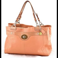 """Coach Penelope leather shoulder bag coral F16532 Amazing coral leather sort of salmon pink, snakeskin leather accents. Two Outer pouches 12"""". Twist lock closure! Spacious bag with sateen beige lining 3 compartments. Coach Bags Shoulder Bags"""