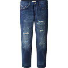 UNIQLO Women Pure Blue Japan Slim Boyfriend Fit Ankle Length Jeans