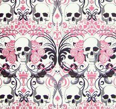 Regent Skulls Alexander Henry Pink Skull fabric by HautMess, $39.75
