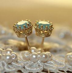 Blue star earrings mint sea foam