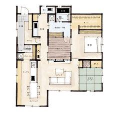 「猫と暮らす中庭のある家」の間取りをご紹介します。家事のしやすい動線づくりや、部屋をキレイに保ちやすい間取りを提案しています。 Small Floor Plans, Small House Plans, House Floor Plans, Taco House, Craftsman Floor Plans, Narrow House, House Blueprints, Japanese House, House Layouts