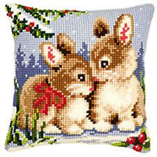 Rabbits  large holed tapestry canvas kit cushion front kit Vervaco