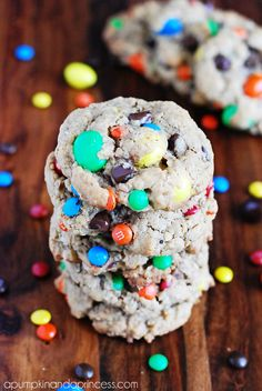 Soft and Chewy Monster Cookie Recipe from pumpkinandaprincess.com