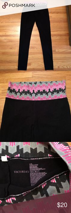 """VS Yoga Pants Fold over style yoga pants from Victoria's Secret. Size large long. For reference, I am 5'7"""" and I have to roll them up at the bottom. Definitely for taller ladies! Victoria's Secret Pants"""