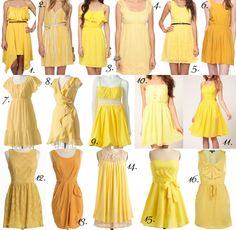92 bridesmaid dresses for $55 or less in alot of colors :) :  wedding affordable bm bridal bridesmaid cheap dress dresses maid of honor moh shower Yellow