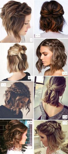 35 cute hairstyles for short hair 2018 # fashionhijab . - 35 cute hairstyles for short hair 2018 # fashionhijab - Medium Length Hairstyles, Cute Hairstyles For Short Hair, Hairstyles Haircuts, Pretty Hairstyles, Curly Hair Styles, Short Hair Braid Styles, Short Hair Wedding Styles, Braids For Short Hair, Curly Haircuts