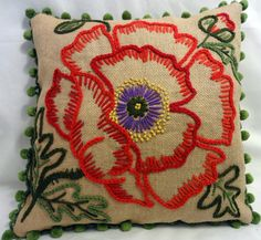 Decorator Burlap Embroidered Pillow with PomPom by Abby's Fabric ...