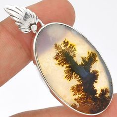 Scenic-Dendritic-Agate-925-Sterling-Silver-Pendant-Jewelry-SP176411