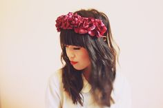 burgundy wine rose crown -maroon floral statement headpiece, santa monica, festival crown, oversize rose.. #kisforkani via #Etsy. #Price:€30.97 ($39.00)