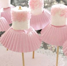 These marshmallow ballerinas are seriously cute and so easy to make! Simply place marshmallow on a stick, cover the bottom with pink sprinkles and add a cupcake case for her 'skirt' Done!