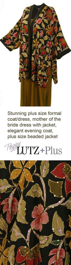 Plus Size Lined Tunic Length Kimono Jacket Naturals/Black Handpainted Beaded Floral Silk Georgette  Gorgeous plus size formal jacket is so easy to wear and feel like yourself in!  Wear it with jeans or dressy, dressy, xoPEG  #style #plussizefashion #plussizestyle #divastyle #weddingstyle #motherofthebride