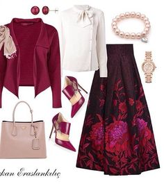So classy glamorous outfit.The skirt is just dreamy Modest Dresses, Modest Outfits, Classy Outfits, Skirt Outfits, Cute Outfits, Islamic Fashion, Muslim Fashion, Hijab Fashion, Fashion Dresses