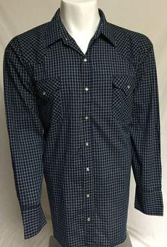 Plains Western Wear Blue XXL Long Sleeve Pearl Snap Front Shirt 2XL #PlainsWesternWear #Western