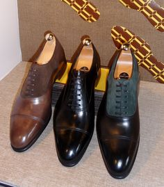 John Lobb. Your dress shoes should adopt this shape and this shape only, if you want to be safe. NO square toed shoes!