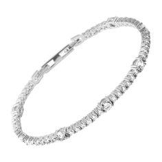 Tennis-Armband silber mit weißen Diamonfire-Zirkonia und Krappen-Fassung | Bridal Collection | Diamonfire