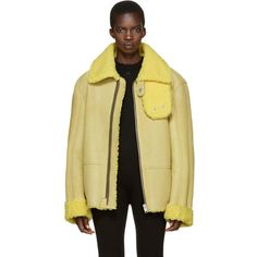 YEEZY Season 3 Yellow Shearling Flight Coat (€1.020) ❤ liked on Polyvore featuring outerwear, coats, yellow, shearling coat, zip coat, adidas coat, beige coat and adidas