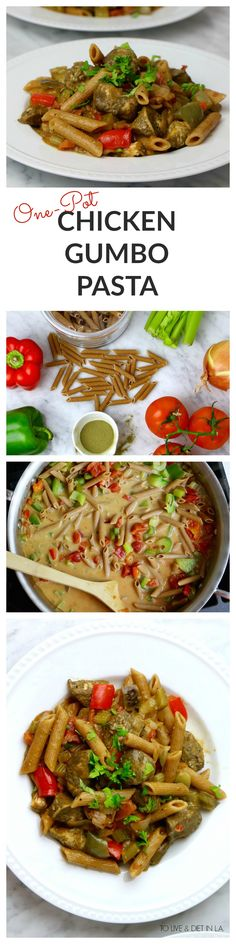 One-Pot Chicken Gumbo Pasta - a quick, no-fuss weeknight dinner with healthy whole grain pasta, lean chicken protein, and fresh vegetables. Healthy, easy, delicious!