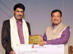Natrang Director Balwant Thakur being conferred 'Prithivi Raj Kapoor Memorial Award' at MDU Rohtak (Haryana)