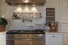 White tiled splashback in kitchen