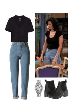 retro Monica Geller Must Have Affordable Winter Outfits Vintage Outfits, Retro Outfits, Casual Outfits, Throwback Outfits, Black Outfits, Rachel Green Outfits, Hipster Outfits, Mode Outfits, School Outfits