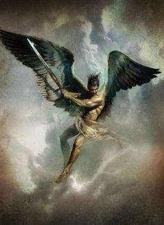 Um guerreiro sabe que um anjo e um demônio disputam a mão que segura a espada.