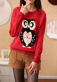 Fashion Owl Pattern Long Sleeve Round Neck Sweater