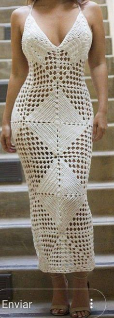 The perfect knit crochet dress. Features a plunge neckline, halter racerback, and crochet detailing. Mode Crochet, Crochet Lace, Crochet Cover Up, Crochet Woman, Outfit Combinations, Crochet Fashion, Crochet Clothes, Crochet Dresses, Knit Dress
