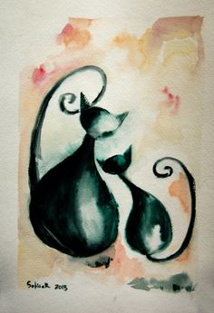 Original Watercolor Painting of Cats Cat Painting Wall by SophieRR, $48.00