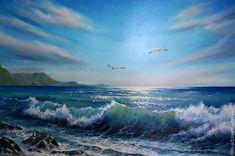 """Купить Морской пейзаж Картина маслом на холсте - """"Море. 2 чайки"""" - голубой, бирюзовый, картина в подарок, картина для интерьера, море, морская волна, морская тема, морской стиль, морская тематика, морской пейзаж, чайки, филатова, филин-арт, яркая картина в интерьер, картина маслом от автора, картина маслом на холсте, эксклюзив декор, авторская живопись маслом, современная живопись, масляная живопись"""