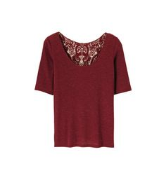 Top chiné à manches mi-longues et dos dentelle Naf Naf en rouge pour femme - Galeries Lafayette