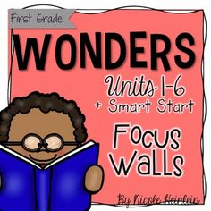 Get all units of the First Grade Wonders Focus Walls together in one money saving Bundle! Save 20% by buying the bundle! This download includes Smart Start, Unit 1, Unit 2, Unit 3, Unit 4, Unit 5, and Unit 6.Each Focus Wall Set includes:*Sample photo of my focus wall put together*Sheets for the standards taught each week*Focus Wall heading cards*Essential Question posters with real photos*Vocab cards for each week with real photos for a pocket chart*Sight word cards for each week with…