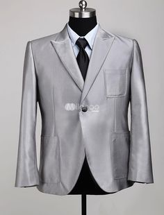 Silver Front Button V-Neck Long Sleeves Cotton Blend Mens Suit. See More Mens Business Suits at http://www.ourgreatshop.com/Men-039-s-Business-Suits-C785.aspx