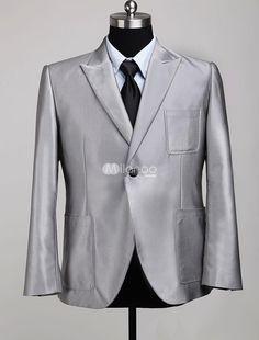One Button peak lapel patch pocket blazer