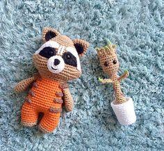 Crocheted Rocket Raccoon and Baby Groot I did
