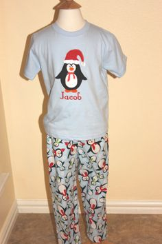 Love these jammies! | GreatStitch Christmas Pajamas PJs Christmas Penguin by GreatStitch @linda s granny, make me some? :D