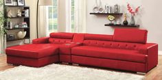 Furniture of America Flori Pneumatic Gas Lift Headrest Bonded Leather Sectional with Bluetooth Speaker Console (Red) (Faux Leather) Red Leather Sectional, 2 Piece Sectional Sofa, Modern Sectional, Sofa Set, Tufted Sectional, Chaise Sofa, Sofa Chair, Living Room Red, Home Living