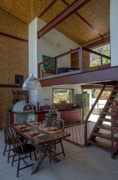 An Ideal Small Loft Interior Design Bamboo House Design, Tiny House Design, Loft House, Loft Design, Home Interior Design, Interior Architecture, Interior Sketch, Nordic Interior, Cafe Interior